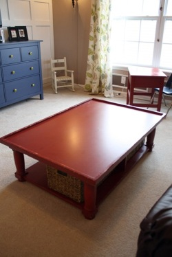 red train table before